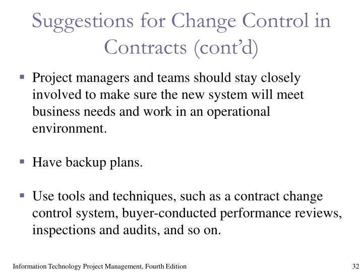 Suggestions for Change Control in Contracts (cont'd)