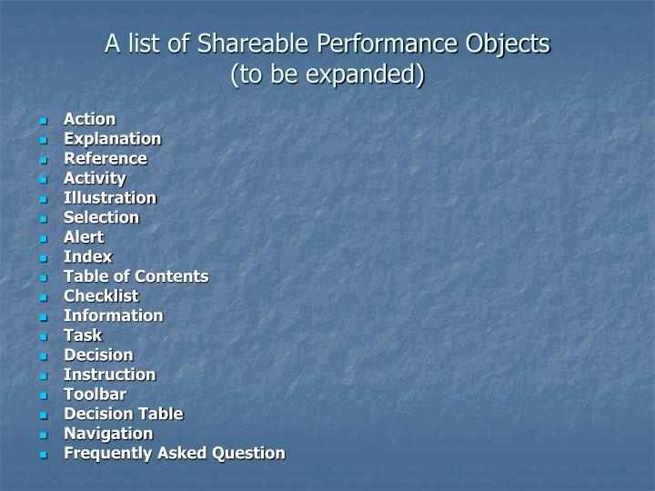 A list of Shareable Performance Objects