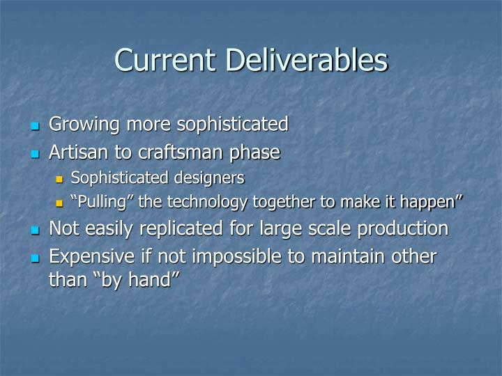 Current Deliverables