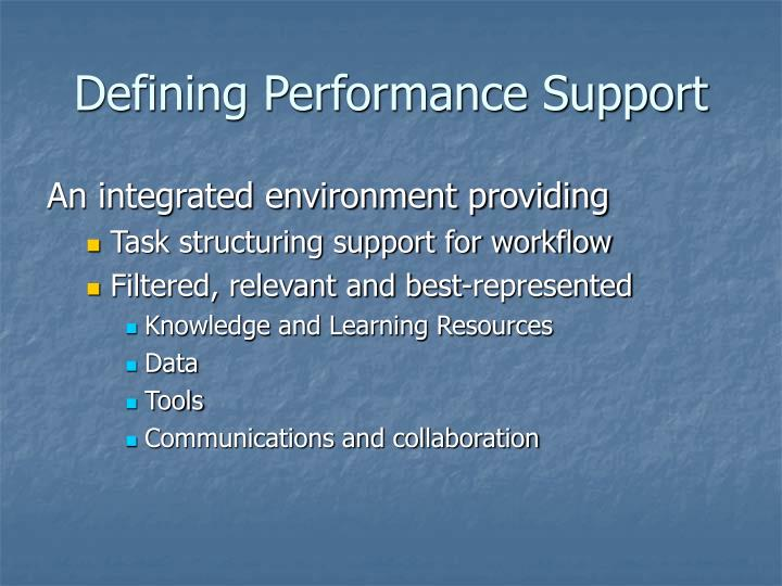 Defining Performance Support