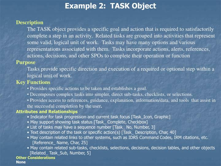 Example 2:  TASK Object