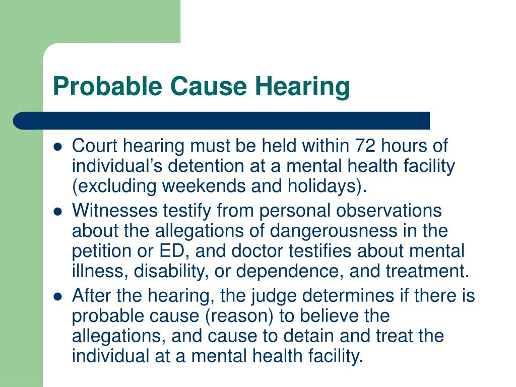 Probable Cause Hearing