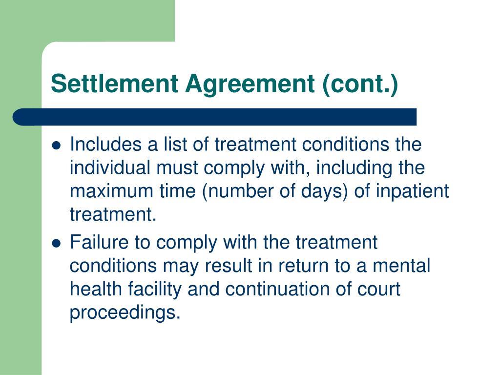 Settlement Agreement (cont.)