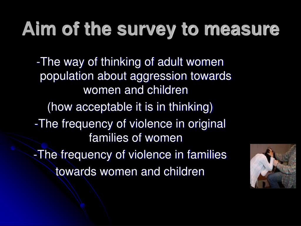 Aim of the survey to measure