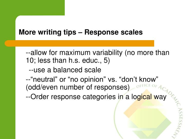 More writing tips – Response scales