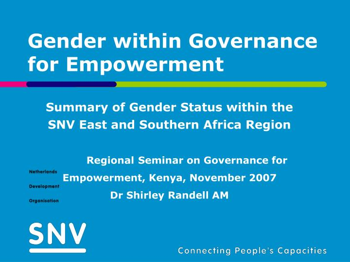 Gender within governance for empowerment