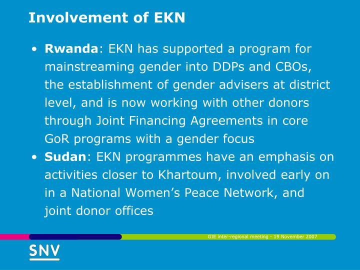 Involvement of EKN