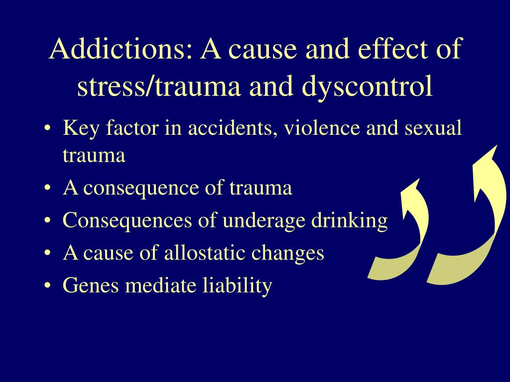 Addictions: A cause and effect of stress/trauma and dyscontrol