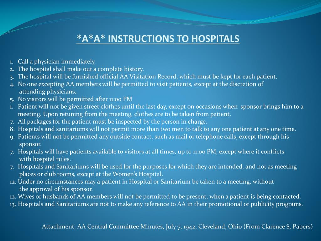 *A*A* INSTRUCTIONS TO HOSPITALS