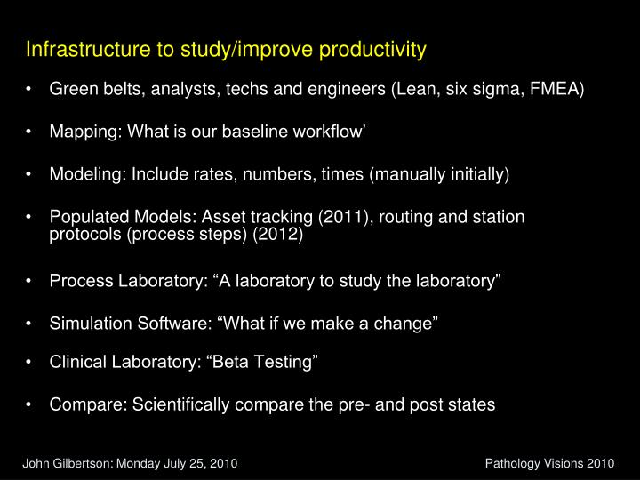 Infrastructure to study/improve productivity