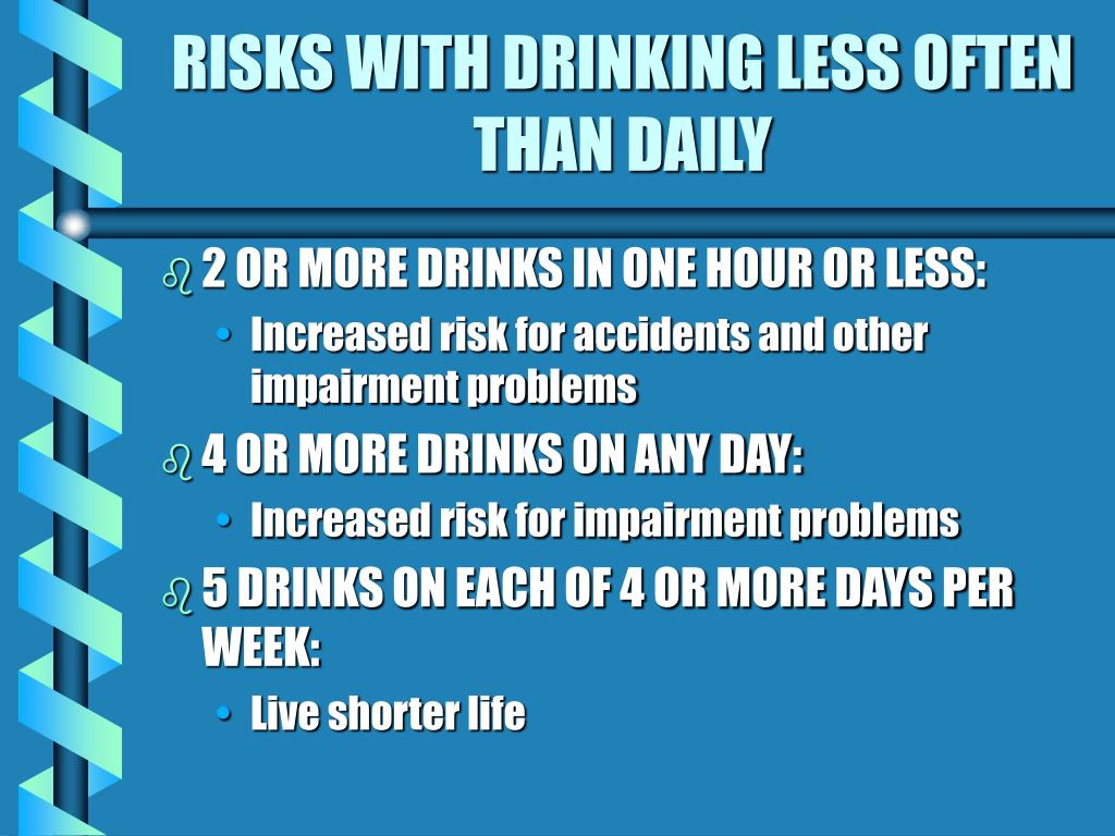 RISKS WITH DRINKING LESS OFTEN THAN DAILY
