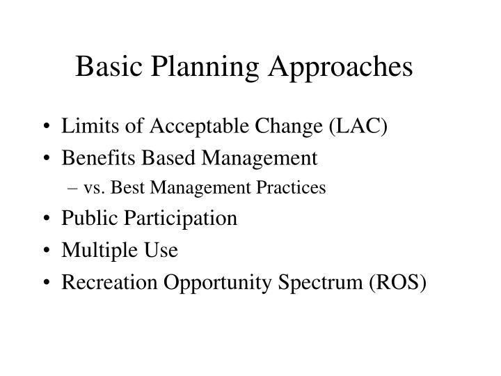 Basic planning approaches