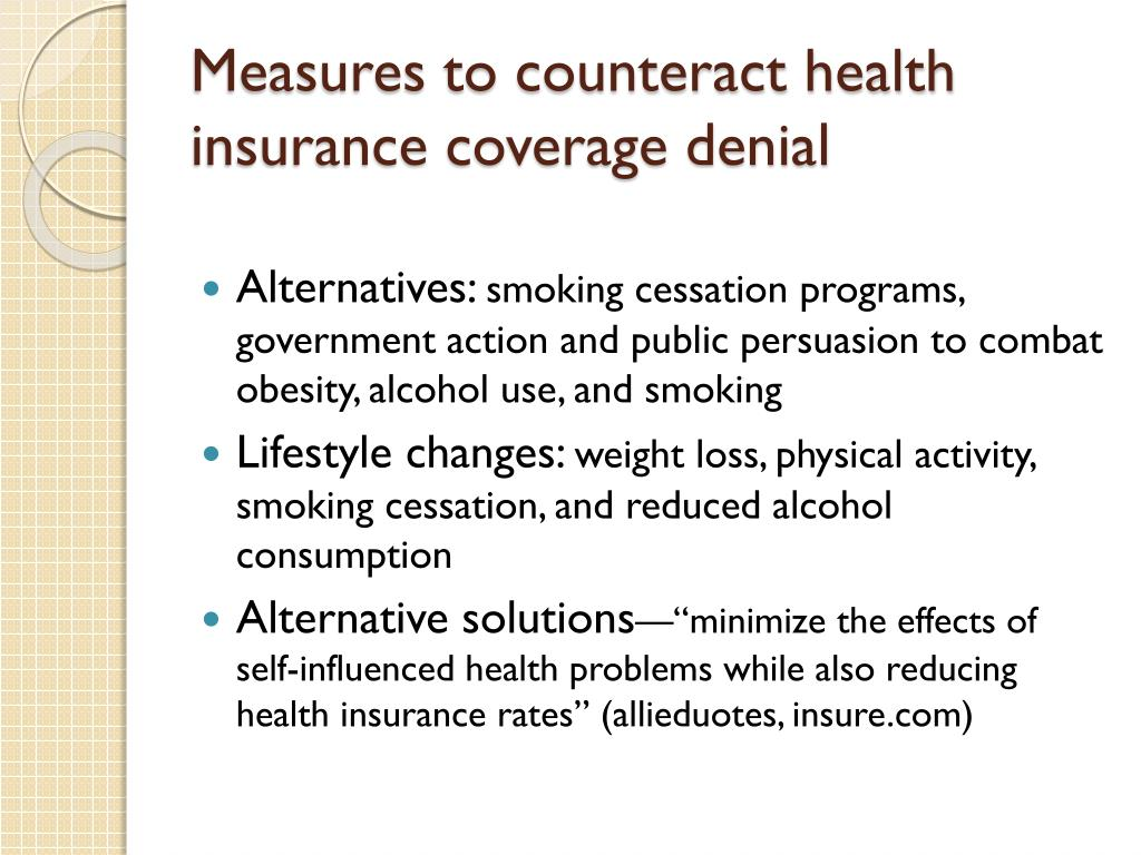 Measures to counteract health insurance coverage denial