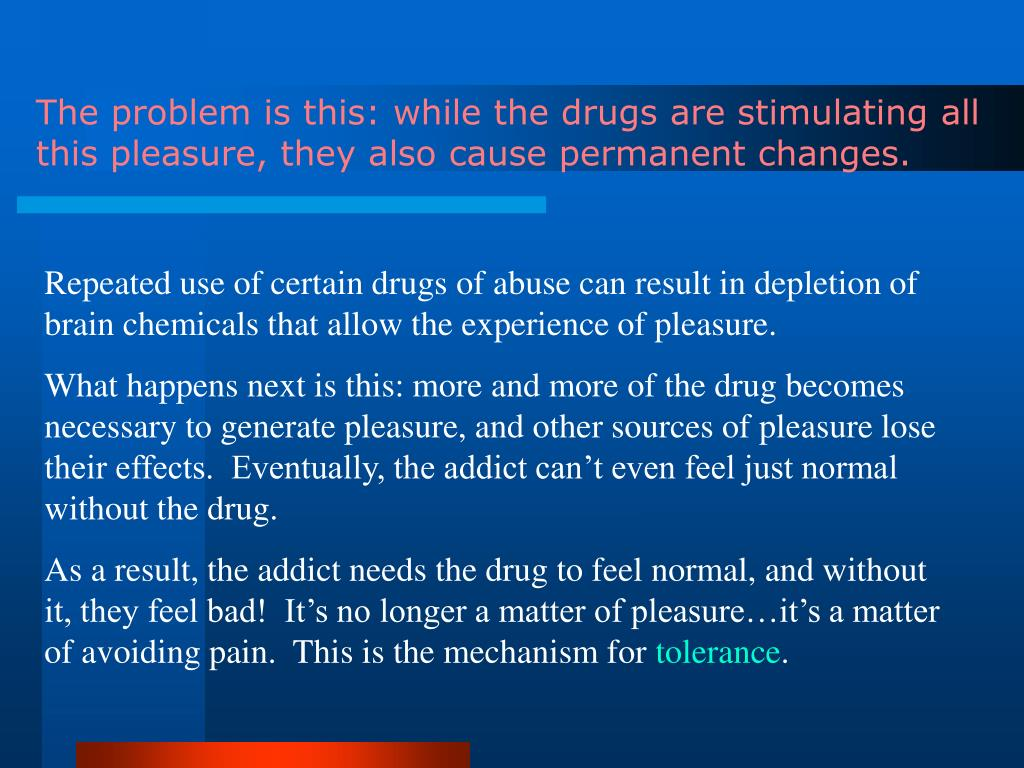 The problem is this: while the drugs are stimulating all this pleasure, they also cause permanent changes.
