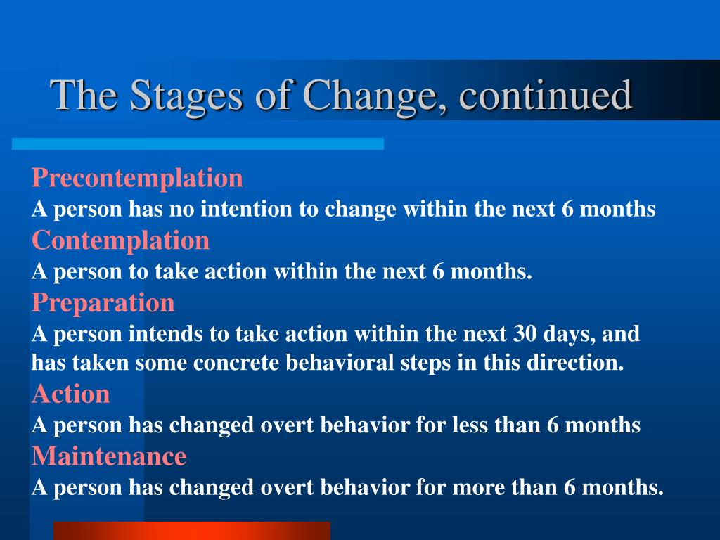 The Stages of Change, continued