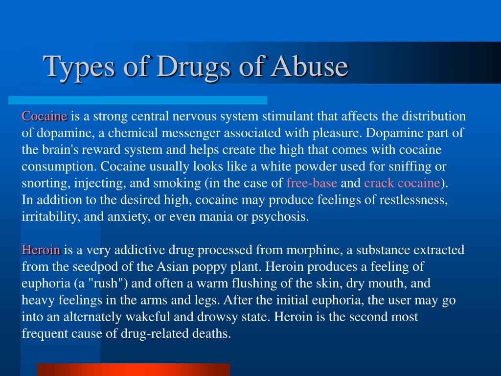 Types of Drugs of Abuse