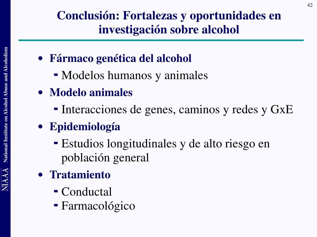 Conclusión: Fortalezas y oportunidades en investigación sobre alcohol