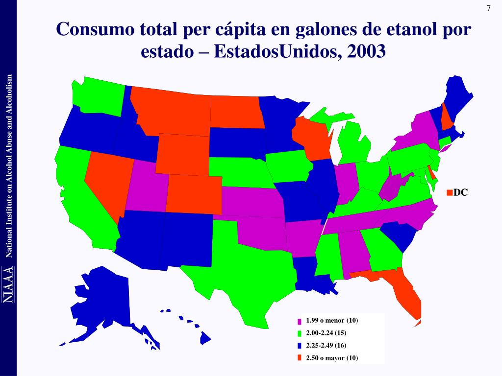 Consumo total per cápita en galones de etanol por estado – EstadosUnidos, 2003
