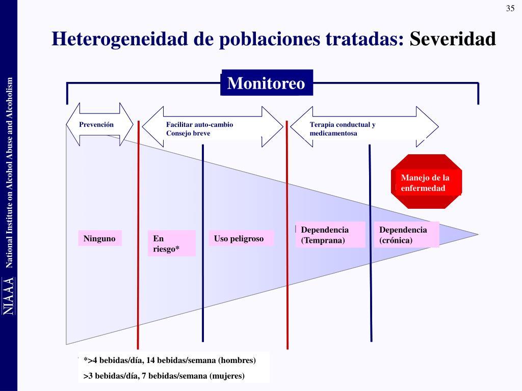 Heterogeneidad de poblaciones tratadas:
