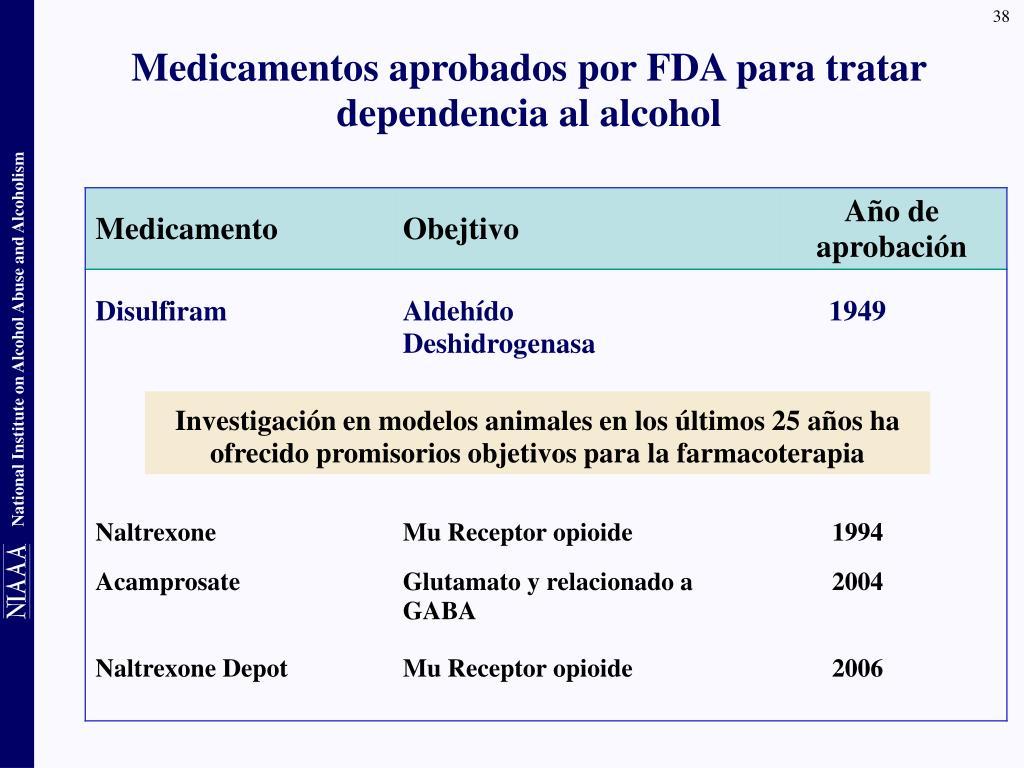 Medicamentos aprobados por FDA para tratar dependencia al alcohol