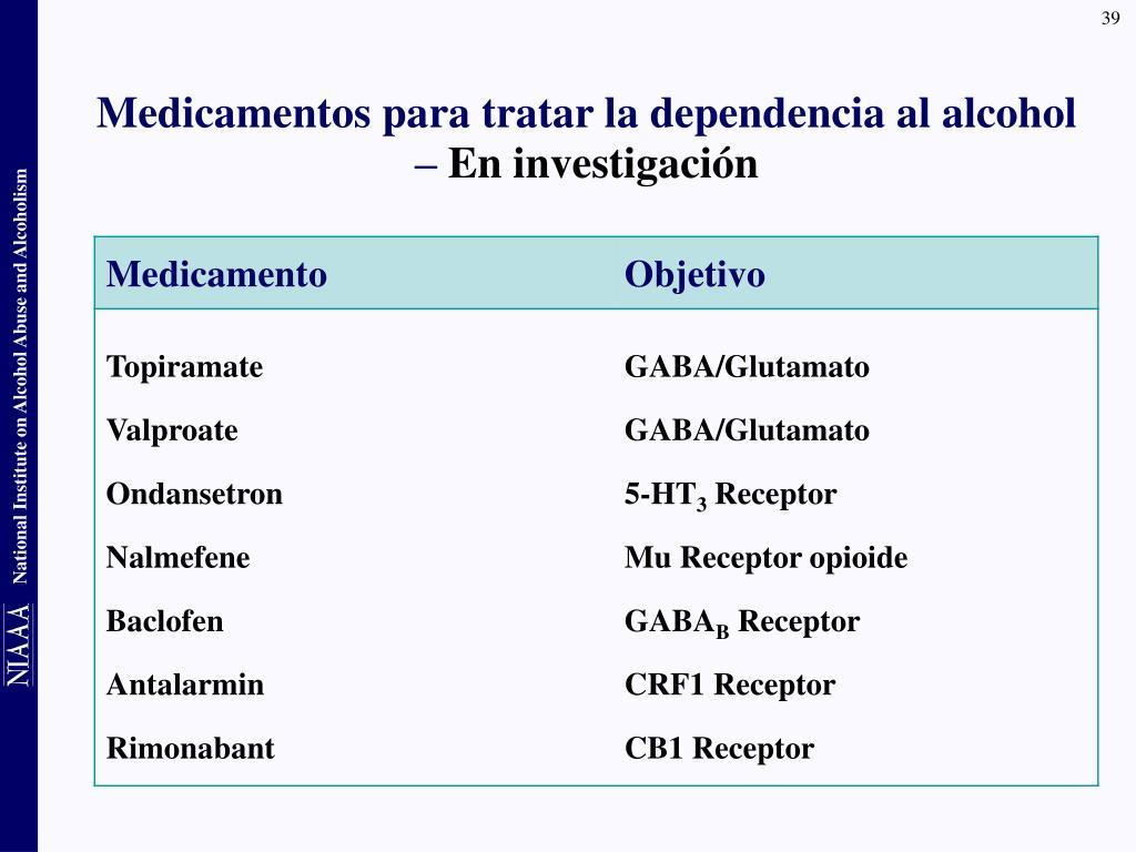 Medicamentos para tratar la dependencia al alcohol –