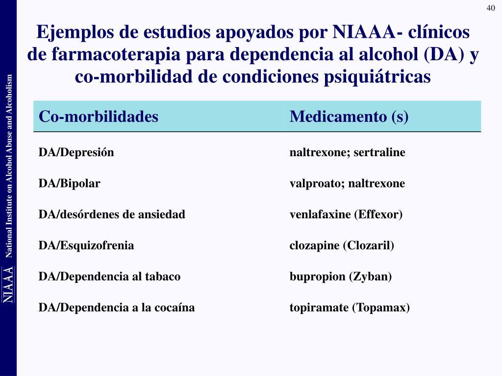 Ejemplos de estudios apoyados por NIAAA- clínicos de farmacoterapia para dependencia al alcohol (DA) y co-morbilidad de condiciones psiquiátricas