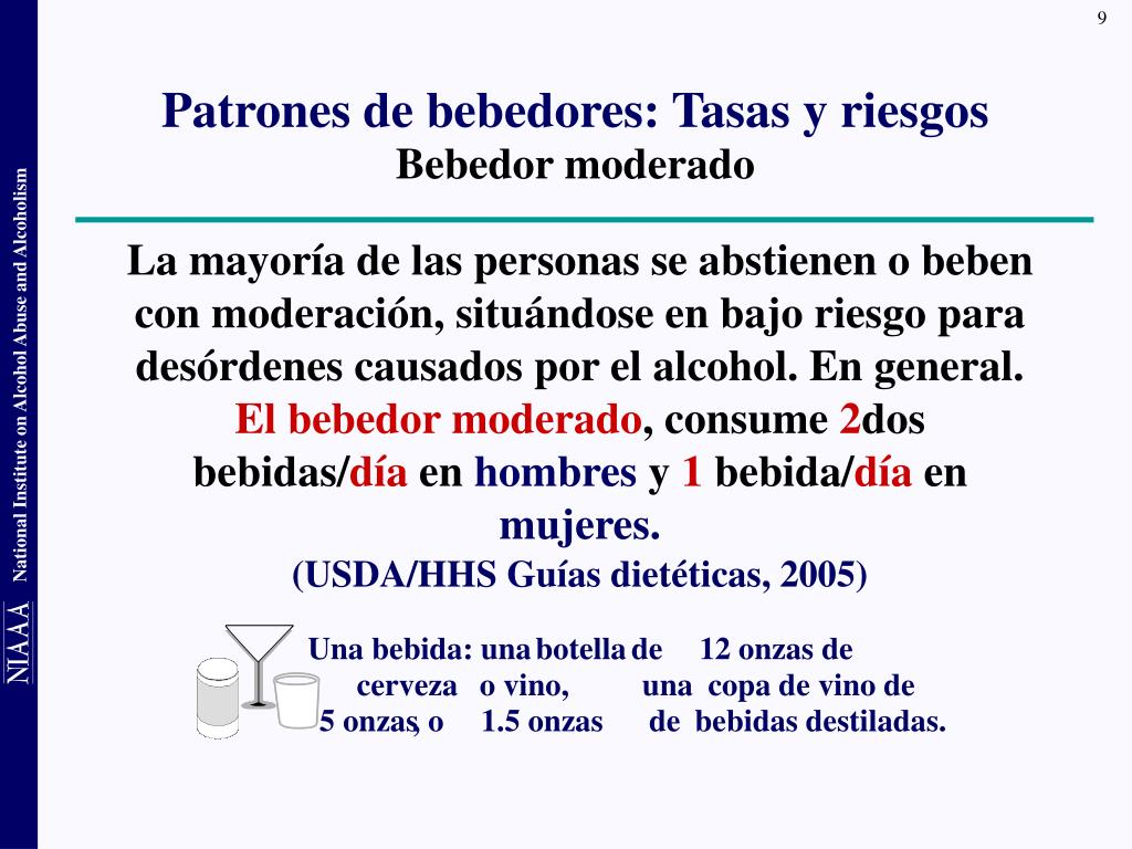 La mayoría de las personas se abstienen o beben con moderación, situándose en bajo riesgo para desórdenes causados por el alcohol. En general.