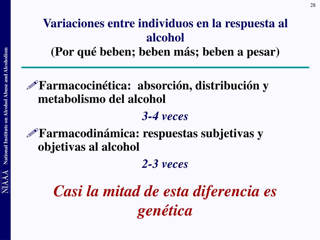 Variaciones entre individuos en la respuesta al alcohol