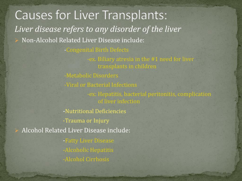 Causes for Liver Transplants: