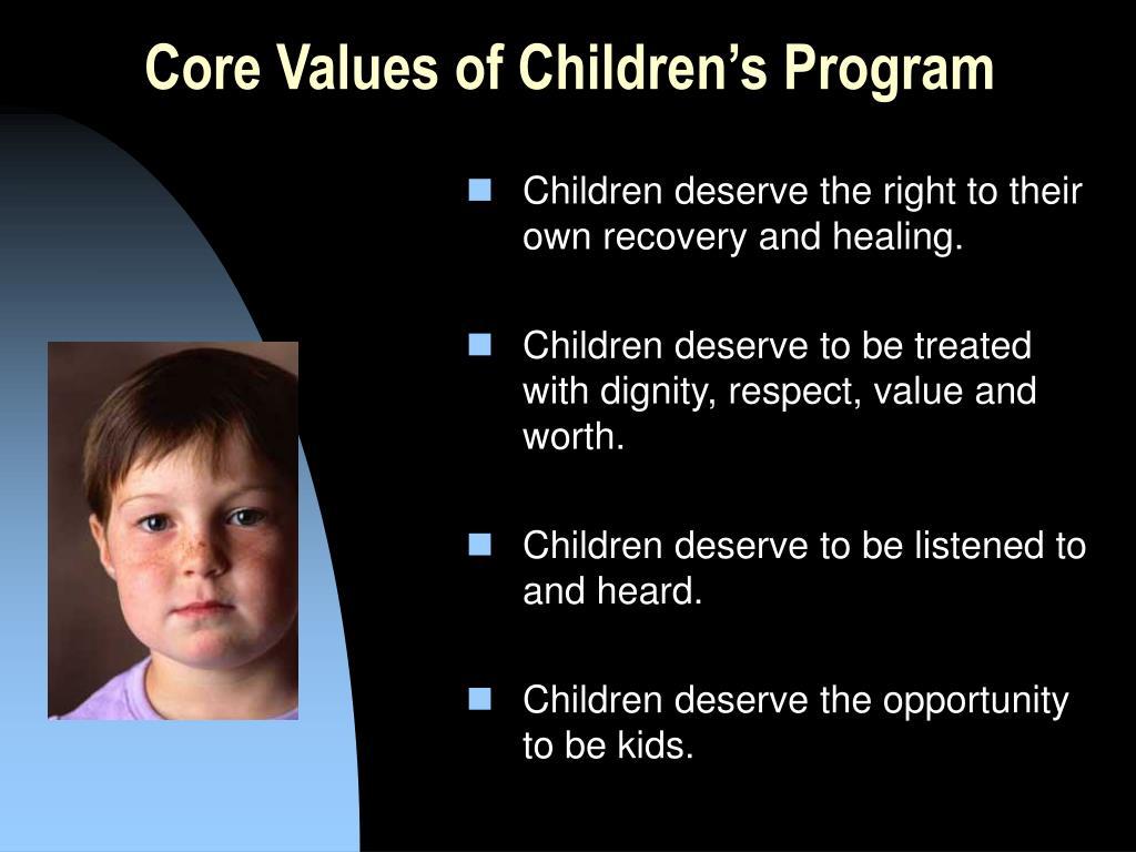 Core Values of Children's Program