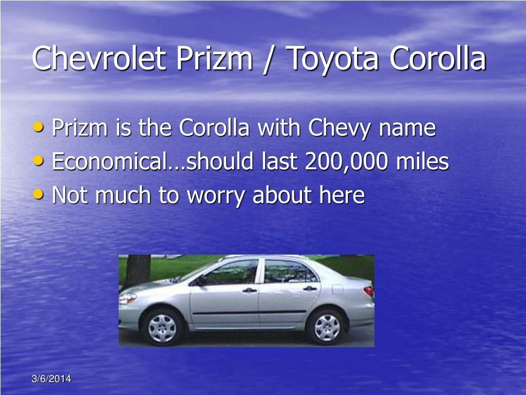 Chevrolet Prizm / Toyota Corolla