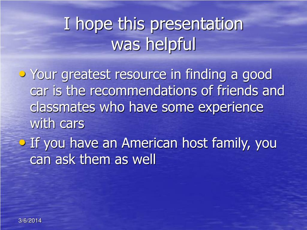 I hope this presentation