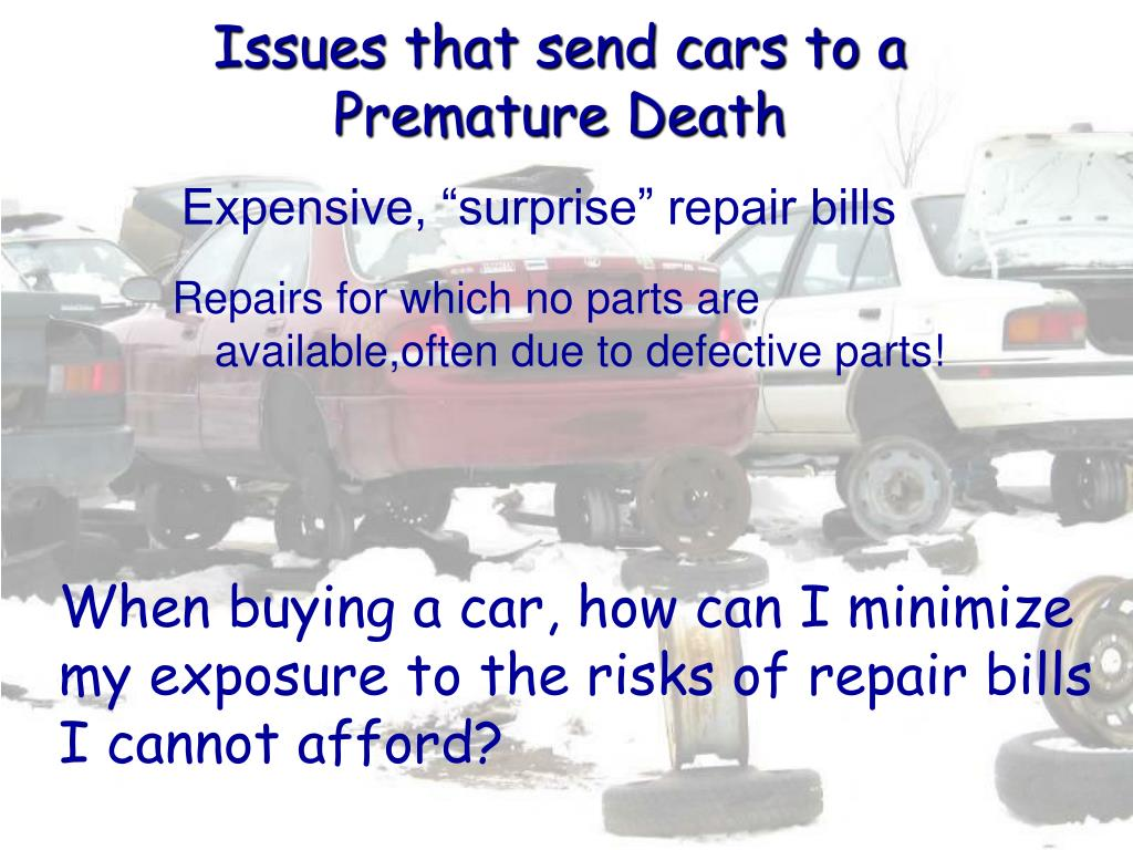 Issues that send cars to a
