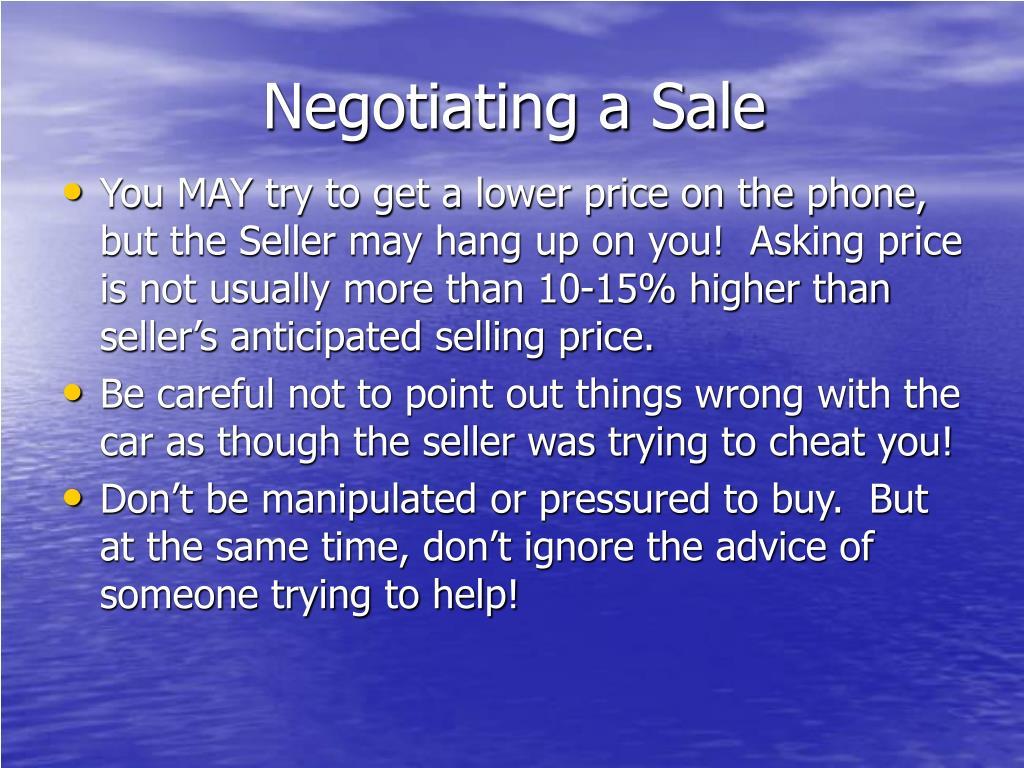Negotiating a Sale