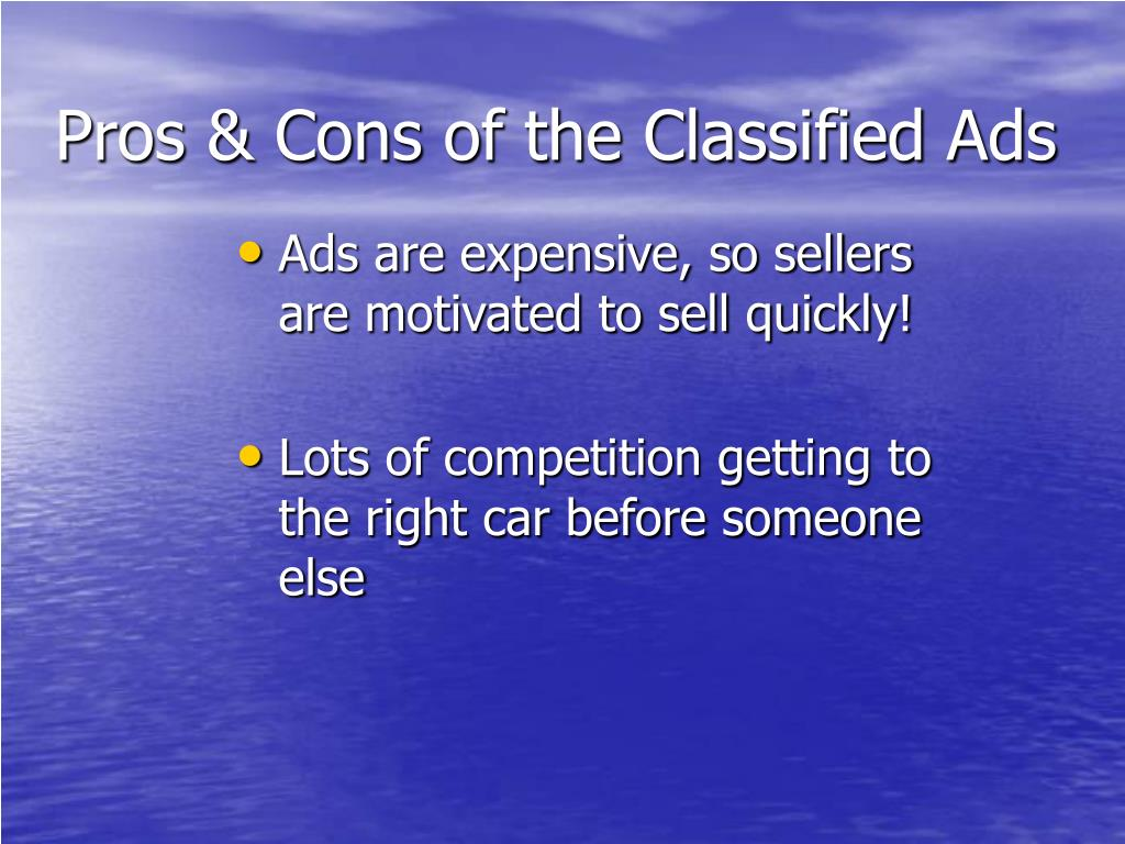Pros & Cons of the Classified Ads
