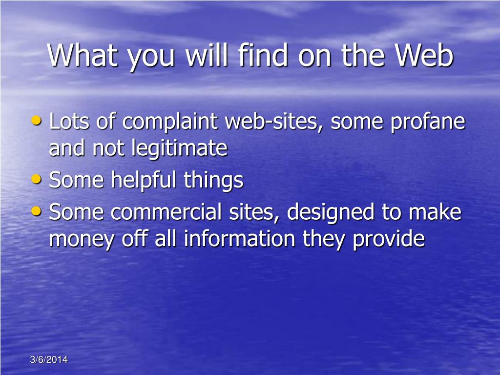 What you will find on the Web