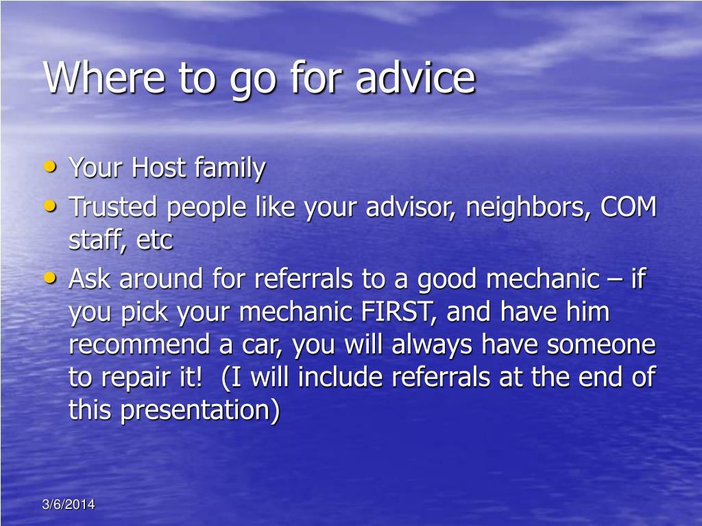 Where to go for advice