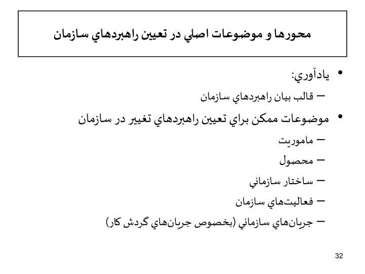 محورها و موضوعات اصلي در تعيين راهبردهاي سازمان