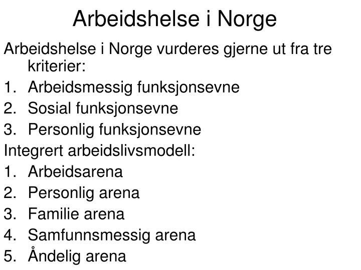 Arbeidshelse i Norge