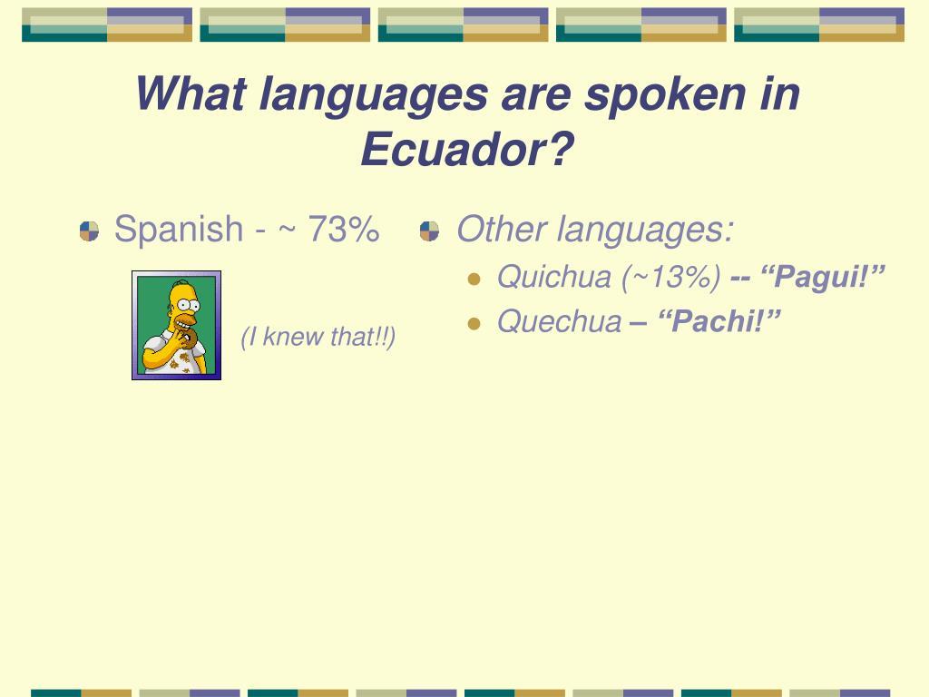Spanish - ~ 73%