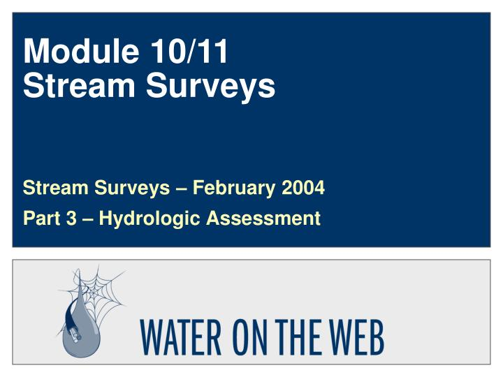 Module 10 11 stream surveys