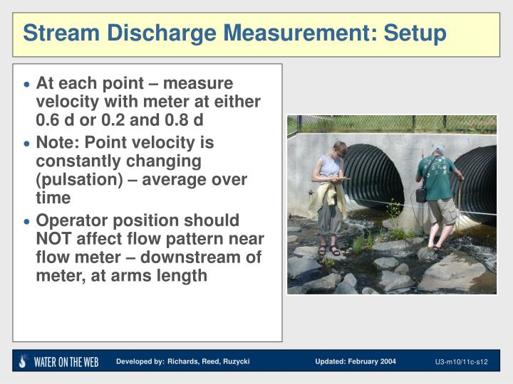 Stream Discharge Measurement: Setup