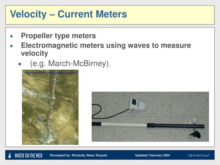 Velocity – Current Meters