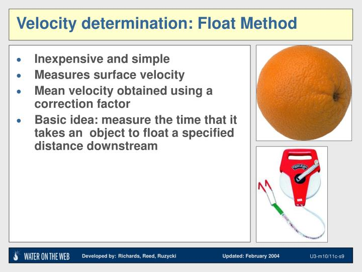 Velocity determination: Float Method