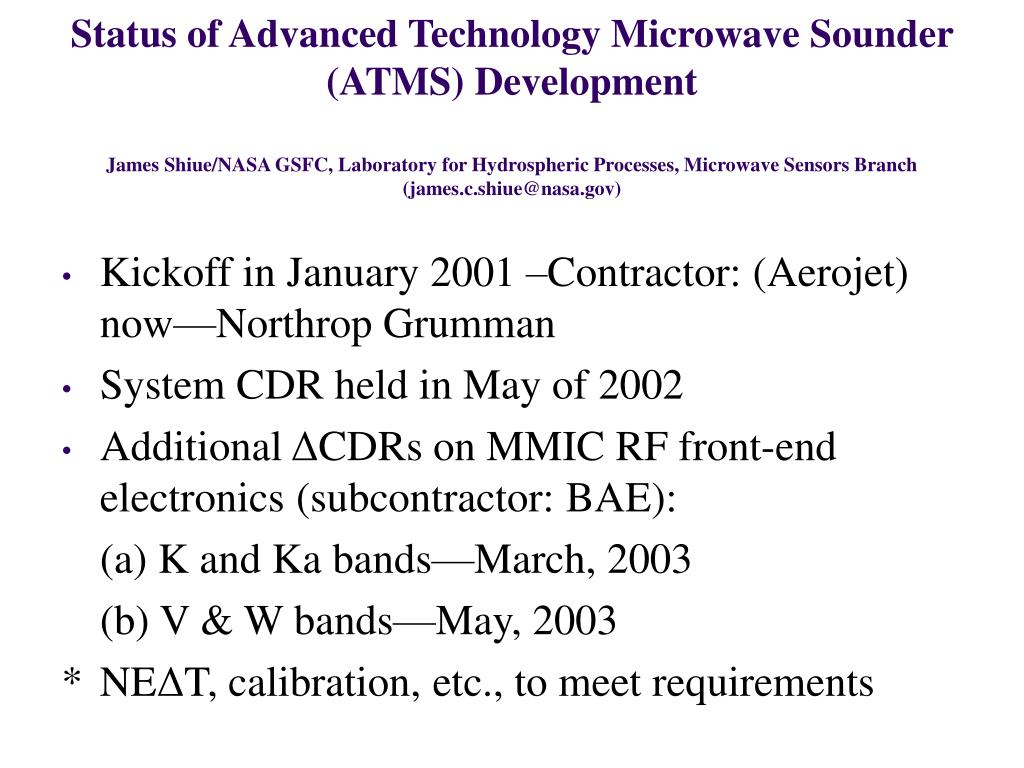 Status of Advanced Technology Microwave Sounder (ATMS) Development
