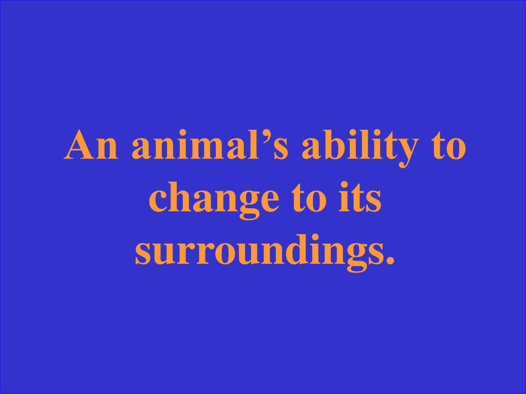 An animal's ability to change to its surroundings.