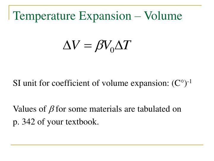 Temperature Expansion – Volume