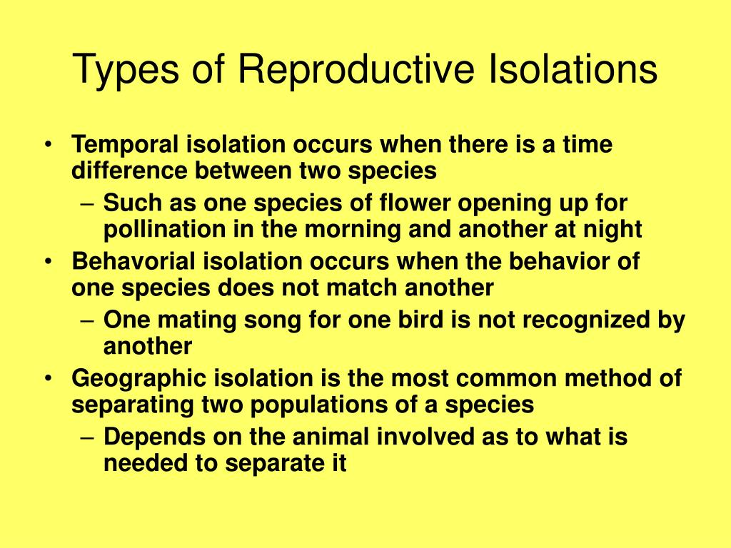 Types of Reproductive Isolations