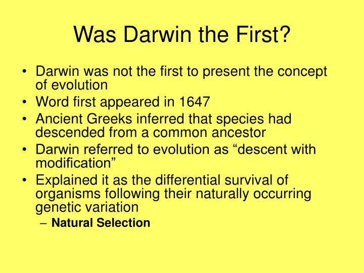 Was darwin the first