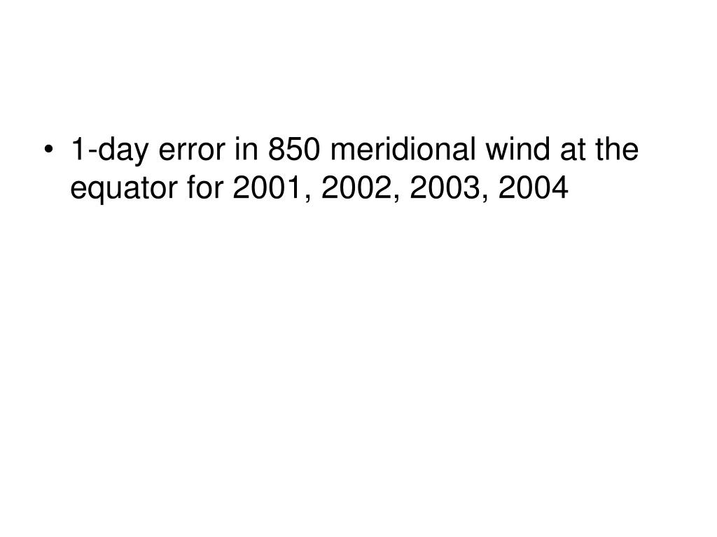 1-day error in 850 meridional wind at the equator for 2001, 2002, 2003, 2004